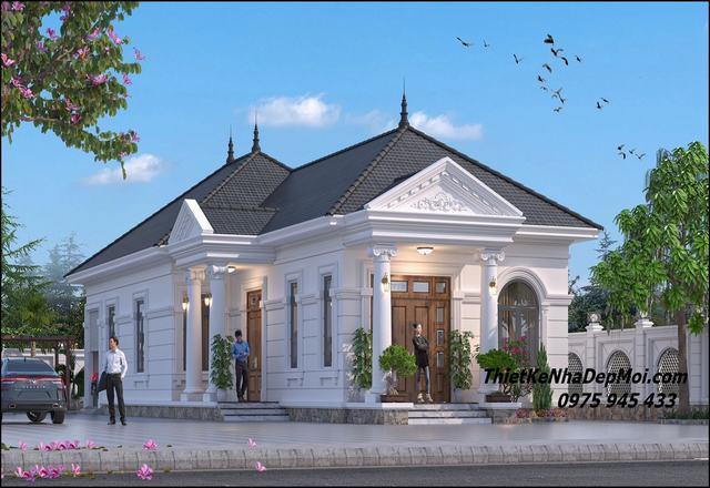 Kiểu nhà đẹp 1 tầng mái ngói