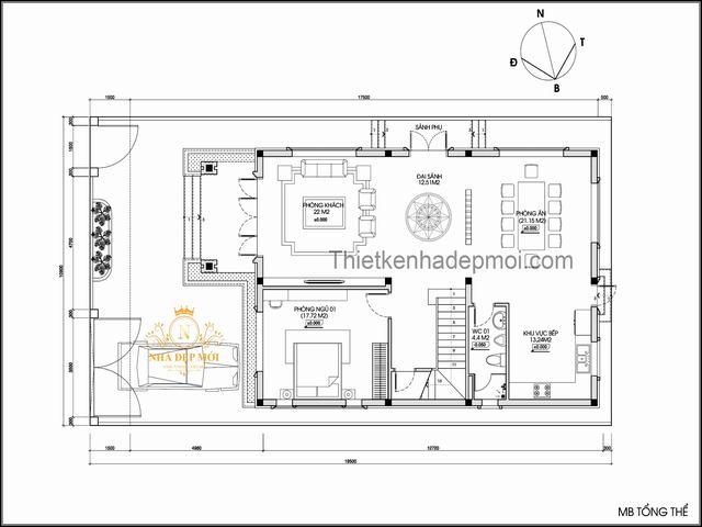 mặt bằng biệt thự mini hiện đại 2 tầng 9x15