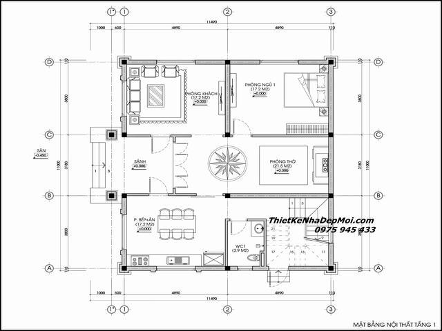 Thiết kế nhà 2 tầng hình vuông 4 phòng ngủ 100m2