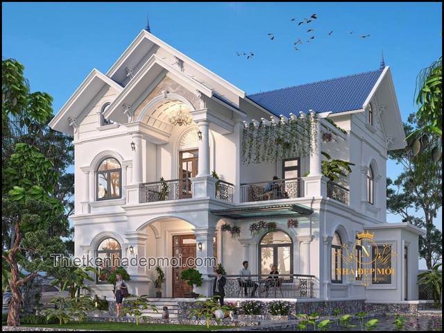 Biệt thự mái thái hình vuông 2 tầng đẹp