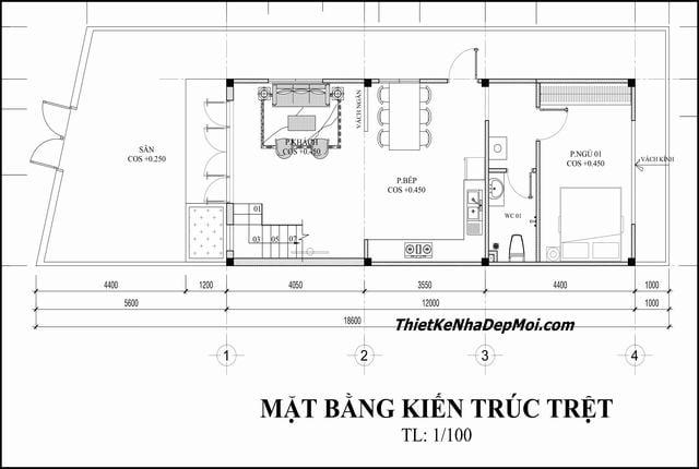 Bản vẽ xây nhà ống 1 tầng có gác xếp 6x17 3 phòng ngủ
