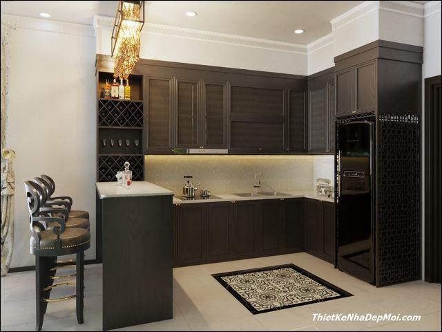 Tủ bếp phong cách indochine