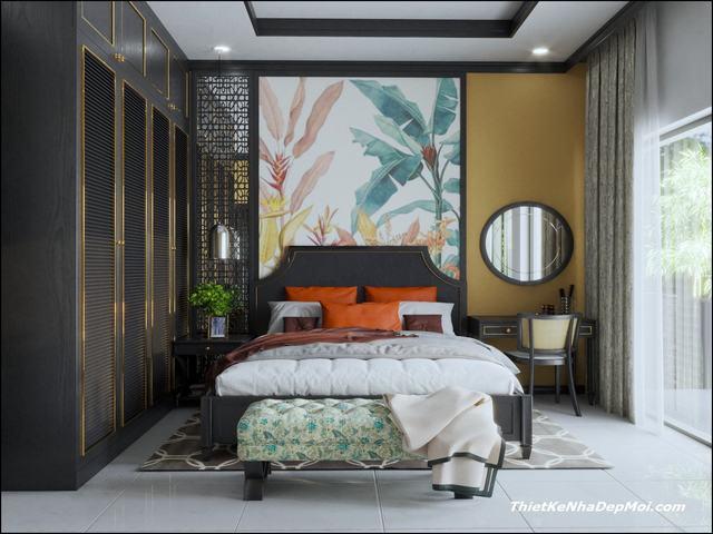 Phòng ngủ indochine hiện đại