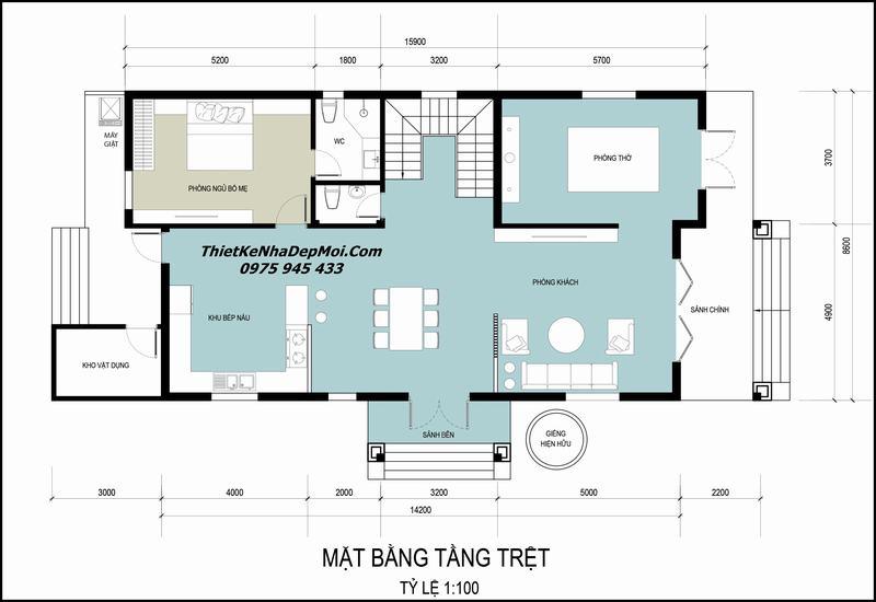 Bản vẽ nhà 2 tầng 4 phòng ngủ có sân vườn