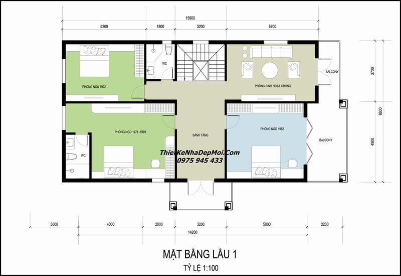 Bản vẽ nhà mái Nhật 2 tầng 4 phòng ngủ