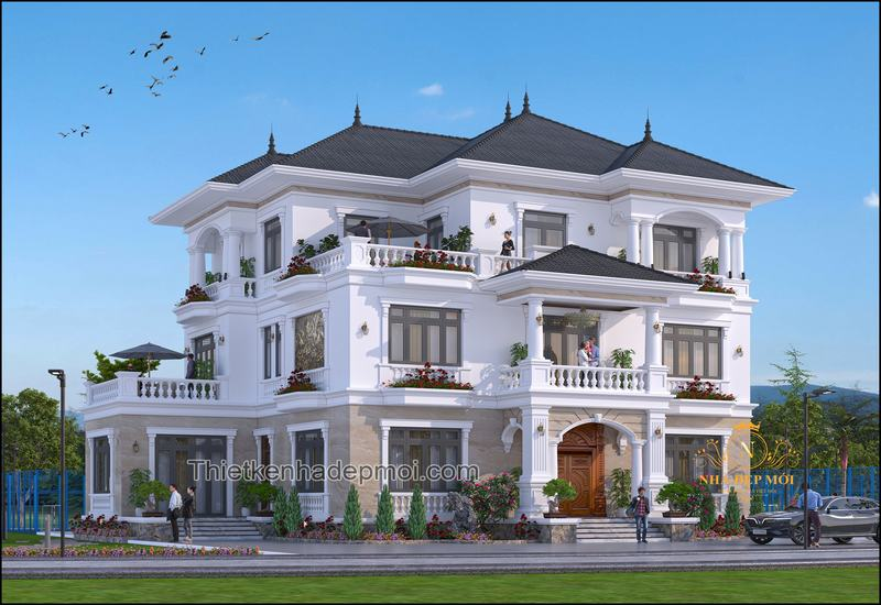 Thiết kế biệt thự sân vườn 3 tầng