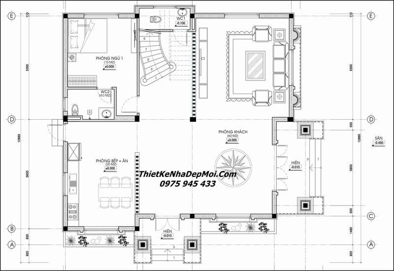 Thiết kế nhà hai tầng mái thái