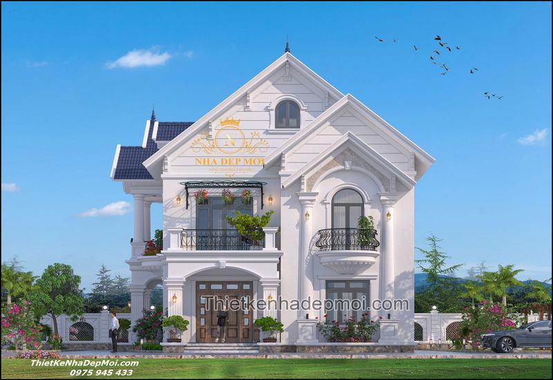 Mẫu nhà vuông 2 tầng mái thái đẹp 2021