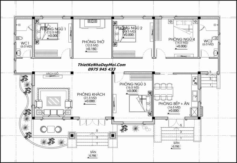 Mặt bằng nhà 1 tầng 4 phòng ngủ đẹp 2022
