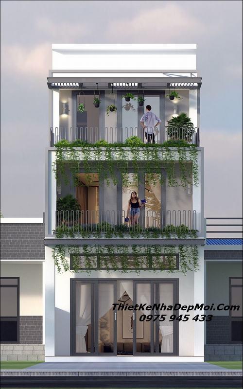 Mẫu nhà phố 40m2 3 tầng mặt tiền 5m