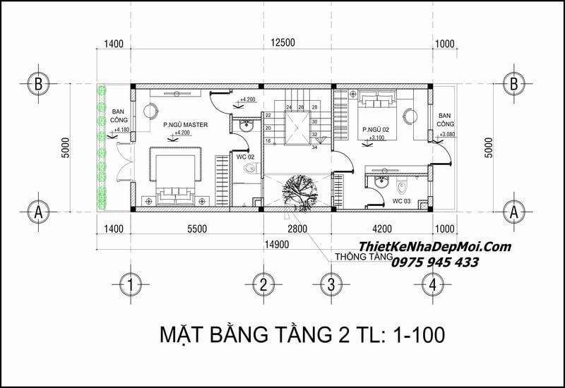 Thiết kế nhà 5x12 3 tầng 1 tum