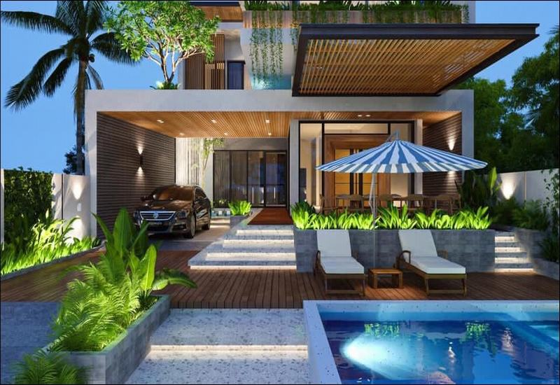 Biệt thự mini 3 tầng có bể bơi