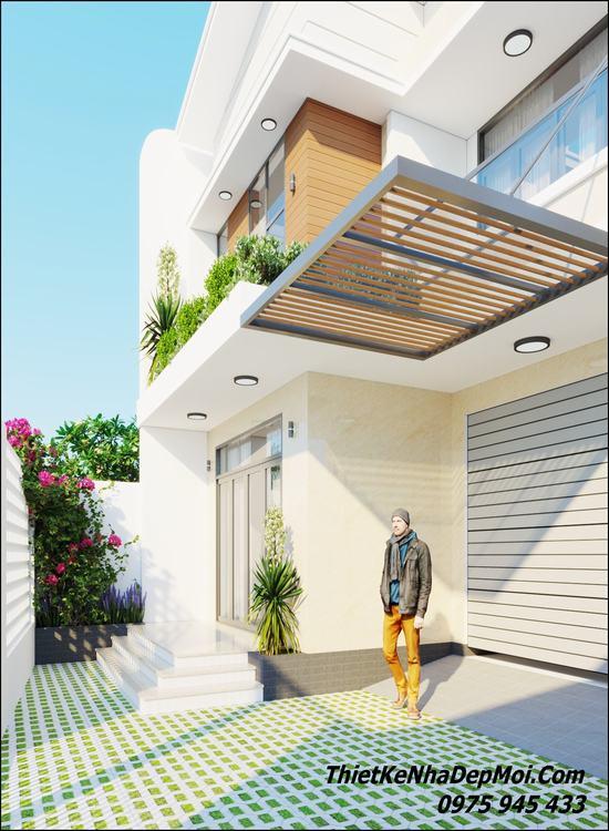 Thiết kế nhà 2 tầng 8x15 có gara ô tô