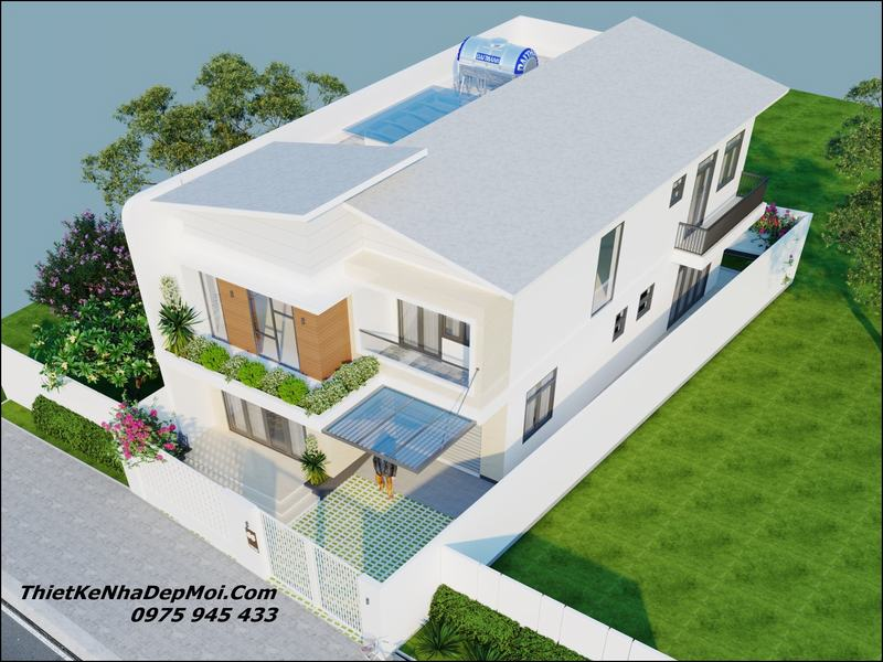 Mẫu nhà 2 tầng mặt tiền 8m hiện đại 2022