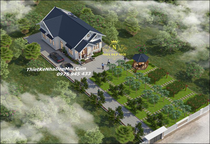 nhà vườn 1 tầng chữ L mái thái đẹp ở nông thôn