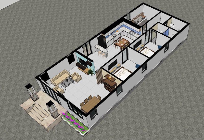Nội thất nhà cấp 4 7x18m