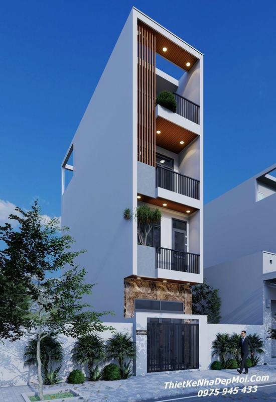nhà 3 tầng 1 tum mặt tiền 5m