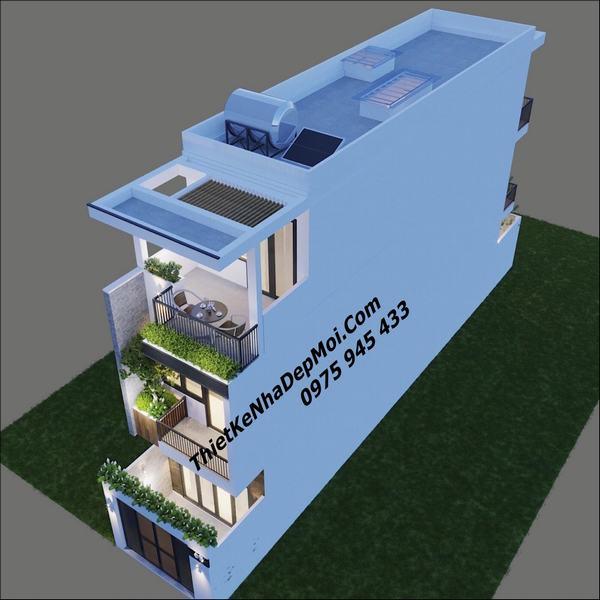 Thiết kế nhà ống 3 tầng 4x20m