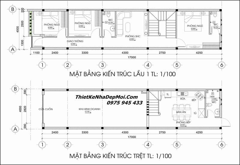 Thiết kế nhà phố 4x17 kinh doanh