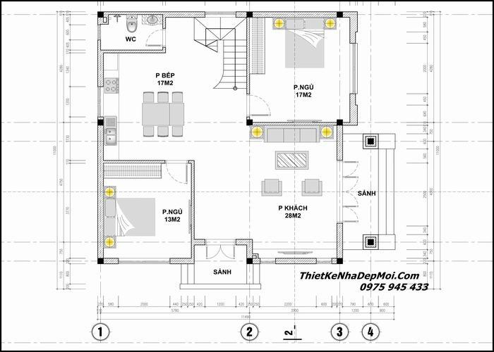 Biệt thự hai tầng năm phòng ngủ