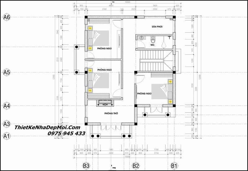 Bản vẽ biệt thự mini 2 tầng khoảng 1 tỷ