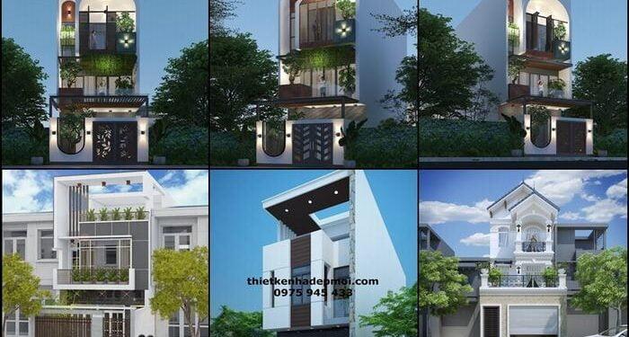 Thiết kế nhà 1 trệt 2 lầu sân thượng 5m
