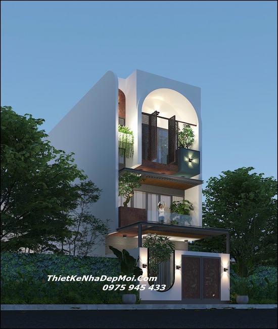 Nhà mái bằng 1 trệt 2 lầu 5m