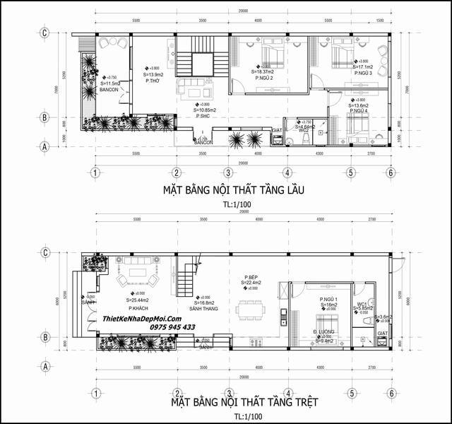 Mặt bằng nhà 2 tầng 4 phòng ngủ 6x20m