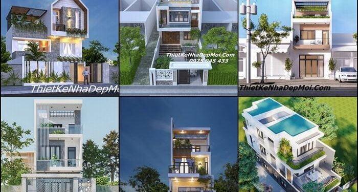Nhà 2 tầng 1 tum đơn giản 2022