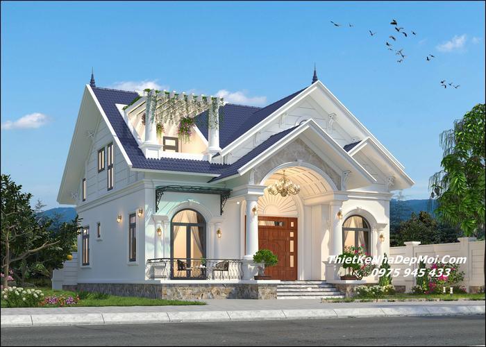 Nhà mái thái gác lửng đẹp làm phòng thờ