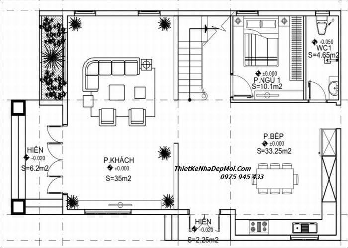 Mặt bằng nhà 2 tầng 4 phòng ngủ 9x14m
