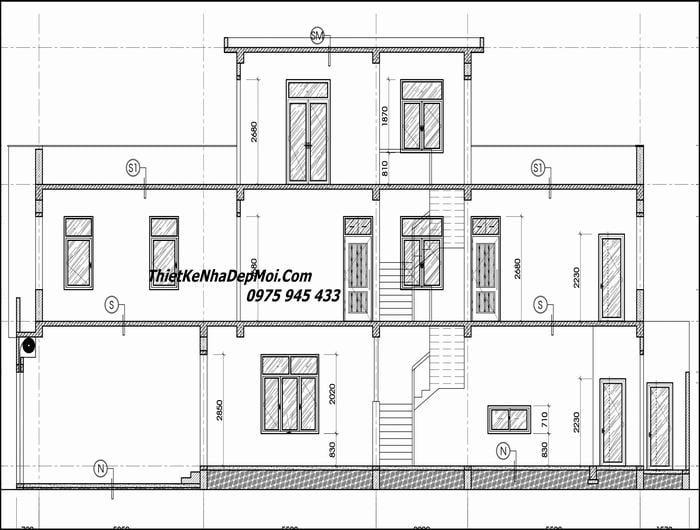 Bản vẽ nhà mặt tiền 5m 2 tầng