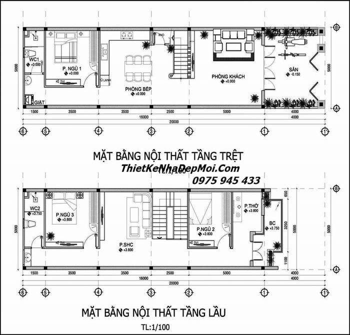 Bản vẽ xây nhà phố 2 tầng 5x16m