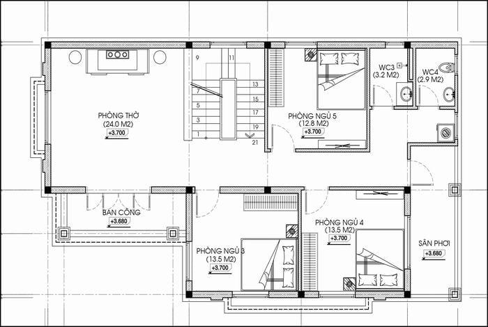 Mẫu thiết kế nhà chữ L 9x15 5 phòng ngủ