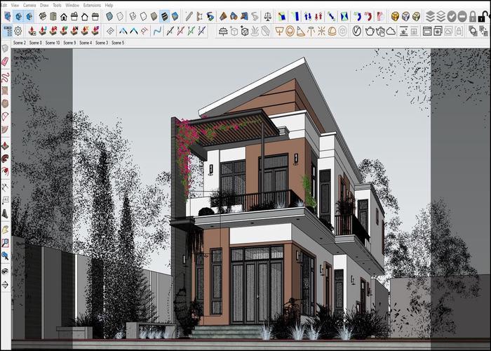 Thiết kế nhà 7x20 2 tầng