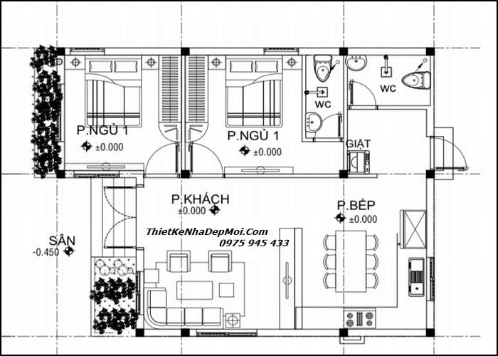 Bản vẽ xây nhà cấp 4 80m2