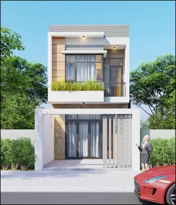 nhà mặt tiền 5m 2 tầng mái tôn